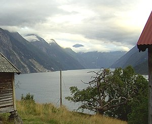 Sunnylvsfjorden - View of the northern mouth of Sunnylvsfjorden seen across the Storfjorden at Liabygda village