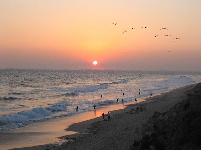 File:Sunset at Huntington Beach.jpg