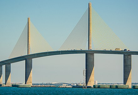 The Sunshine Skyway Bridge over Tampa Bay is a part of Florida's interstate system. SunshineSkywayBridge-4SC 6643-15.jpg