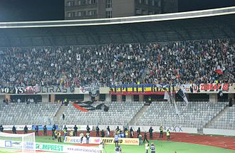 "FC Universitatea Cluj - ""U"" Cluj supporters during a First Division game"