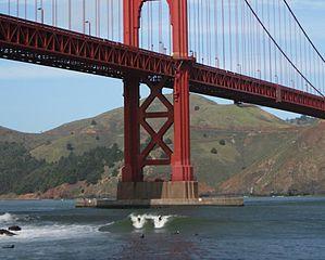surfers under Golden Gate Bridge