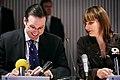 Sveriges finansminister Anders Borg tillsammans med Finlands kommun- och forvaltningsminister Mari Kiviniemi vid Nordiska Radets session i Helsingfors 2008-10-28.jpg