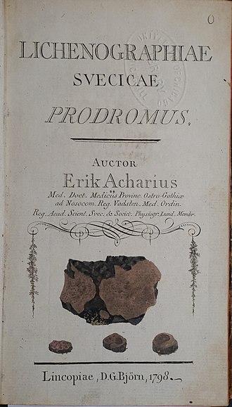 Erik Acharius - Title page of Erik Acharuis's first work Lichenographia svecicae Prodromus (1798).