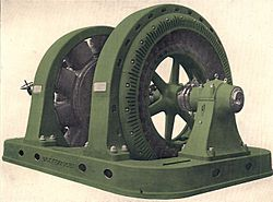 Synchronous motor-generator set for AC to DC conversion (Rankin Kennedy, Electrical Installations, Vol II, 1909).jpg