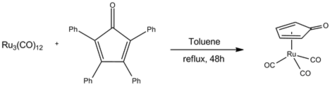 Shvo catalyst - Preparation of the Shvo catalyst using cyclopentadienone and triruthenium dodecacarbonyl.