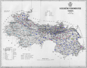 Syrmia County - Ethnic map of the county with data of the 1910 census (see the key in the description).