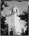 TOWER (WITH 1855 DATE), LOOKING SOUTHEAST - Christian Church, 160 Fifth Street, Gilroy, Santa Clara County, CA HABS CAL,43-GIL,5-2.tif