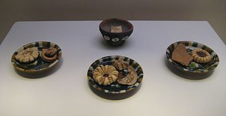 Jiaozi - Pottery dumpling and delicacies from a Tang Dynasty tomb