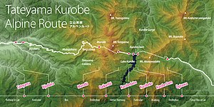 Tateyama Kurobe Alpine Route - Image: Tateyama Kurobe Alpine Route, Map (English)