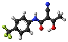 Ball-and-stick model of the teriflunomide molecule