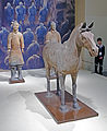 Terracotta horse and two soldiers with docent, National Museum of China.jpg