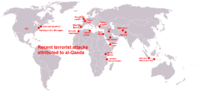 World map about terrorist attacks of al-Qaeda.