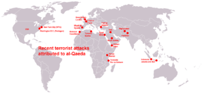 World map about terrorist attacks of al-Qaeda....