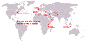 English: World map about terrorist attacks of ...