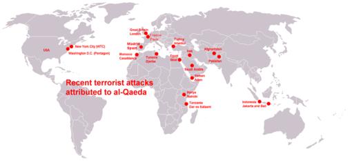 Mappa degli attentati terroristici di al-Qa'ida al 2015