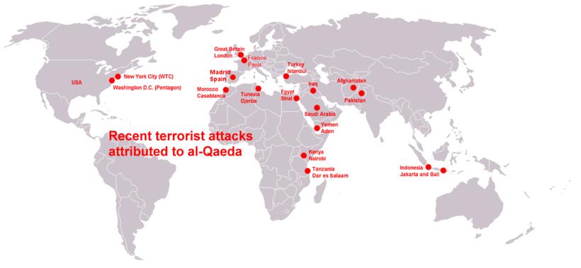Terroristische aanslagen van Al Qaida in de wereld