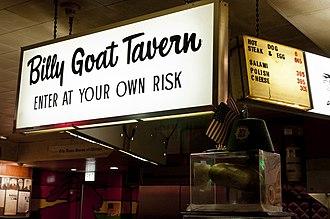 Billy Goat Tavern - Sign inside the tavern