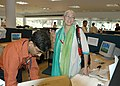 The Chairperson, CFSI, Ms Nafisa Ali visits the Media Center at Kala Academy during the 37th International Film Festival (IFFI-2006) in Panaji, Goa on November 27, 2006.jpg