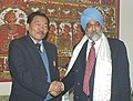 The Chief Minister of Sikkim, Shri Pawan Chamling meeting with the Deputy Chairman Planning Commission, Shri Montek Singh Ahluwalia to finalize Annual Plan 2006-07 of the State, in New Delhi on February 7, 2006.jpg