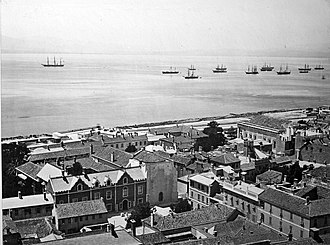 The Convent (Gibraltar) - View of The Convent and its environs from the Upper Town in 1879, with the building's iconic balcony being constructed