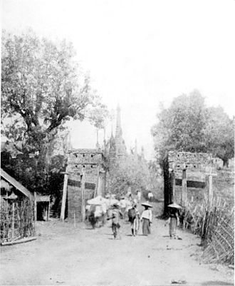 Mongnai State - The Gate at Mongnai in a picture by Sir James George Scott.