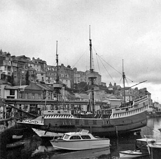 Sir Francis Drake (TV series) - Ship used in the TV series moored in Brixham harbour in 1968