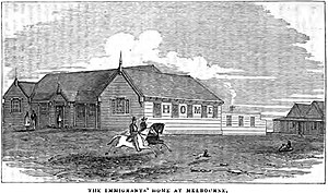 Wesley Church, Melbourne - Image: The Immigrants' Home at Melbourne (p.6, XII, January 1855) Copy