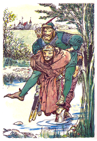Lincoln green - Frontispiece of Howard Pyle's 1883 The Merry Adventures of Robin Hood showing tunic and leggings approximating a Lincoln green shade