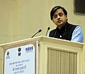 The Minister of State for Human Resource Development, Dr. Shashi Tharoor addressing at the inauguration of the Coir Board Diamond Jubilee Celebrations, in New Delhi on November 25, 2013.jpg
