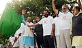 The Minister of State for Youth Affairs and Sports (IC), Water Resources, River Development and Ganga Rejuvenation, Shri Vijay Goel flagging off the 7th Slum Yuva Daud, at Tughlaqabad Village Fort, in New Delhi.jpg