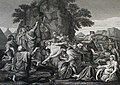 The Phillip Medhurst Picture Torah 405. Moses striking the rock. Exodus cap 17 v 5. after Poussin.jpg