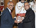 The President, Shri Pranab Mukherjee presenting the Padma Bhushan Award to Dr. Madappa Mahadevappa, at an Investiture Ceremony-II, at Rashtrapati Bhavan, in New Delhi on April 26, 2014.jpg