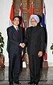 The Prime Minister, Dr. Manmohan Singh meeting the Prime Minister of Thailand, Mr. Abhisit Vejjajiva, in New Delhi on April 05, 2011.jpg