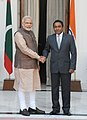 The Prime Minister, Shri Narendra Modi with the President of the Republic of Maldives, Mr. Abdulla Yameen Abdul Gayoom, in New Delhi on May 27, 2014.jpg