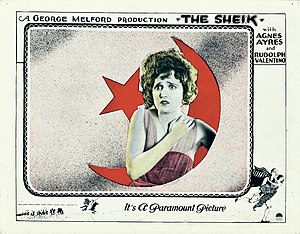 Agnes Ayres - Ayres on a lobby card for The Sheik