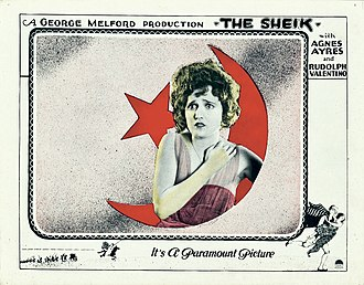 Agnes Ayres - Ayres on a lobby card for The Sheik
