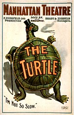 Painting of a turtle standing on hind legs, with top hat and cane, on theatre poster