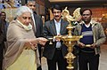 The Union Minister for Culture, Smt. Chandresh Kumari Katoch lighting the lamp to inaugurate an exhibition 'The World of Khusrau', in New Delhi on February 22, 2013.jpg