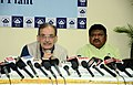 The Union Minister for Steel, Shri Chaudhary Birender Singh addressing a press conference on the achievements of the Ministry of Steel, during the last four years, in Rourkela, Odisha.JPG