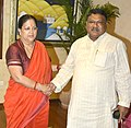 The Union Minister for Tribal Affairs, Shri Jual Oram meeting the Chief Minister of Rajasthan, Smt. Vasundhara Raje, in Jaipur on October 06, 2015.jpg