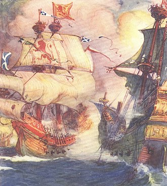 Royal Scots Navy - Andrew Wood's flagship, The Yellow Carvel, in action, from a children's history book (1906)