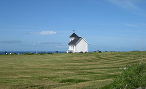 Varhaug - View of the old village church and graveyard