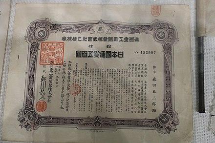 満州鉄道証券取引所、中国産業博物館コレクション