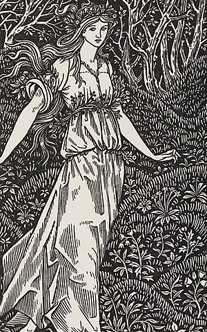 Millefleur - Sir Edward Burne-Jones' frontispiece to The Wood Beyond the Worlds (Kelmscott Press, 1894)