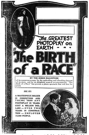 The Birth of a Race - Newspaper advertisement.