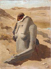 Child Hiding Behind Egyptian Sculpture, Luxor