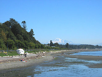 White Rock, British Columbia - White Rock's namesake as seen from the pier, with Washington's Mount Baker in the distant background