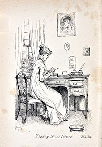 Illustration. Assise à un bureau, Elizabzth lit attentivement une lettre