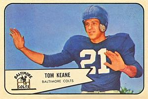 Tom Keane - Keane on a 1954 Bowman football card
