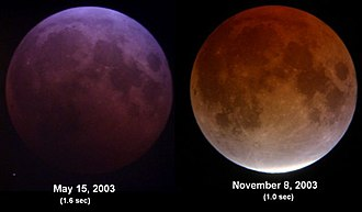Danjon scale - Two lunar eclipses in 2003. Their ratings on the Danjon Scale would be roughly 2 (left) and 4 (right).